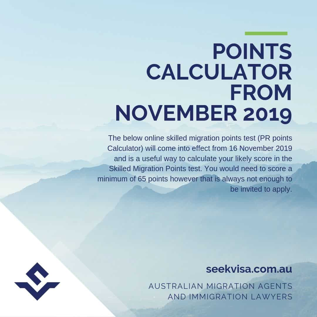 Australia PR Points Calculator from 16 November 2019